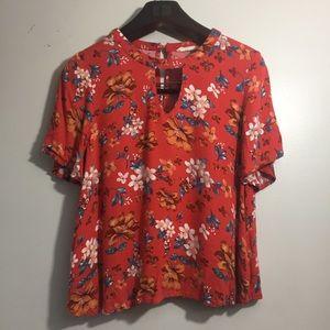Elodie keyhole floral blouse top. Medium